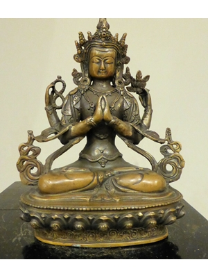 Seated Nepalese Avaloketsvara on a lotus base in a Namaskara position, bronze, H 8.3 19th - early 20th century
