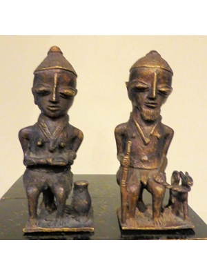 "A fine pair of bronzes depicting a tribal family fromYoruba Edan Ogboni, H 5.1"" ca late 19th to early 20th century"