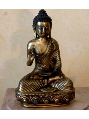Ayodhya Buddha with knotted hair, seated on a lotus base, gilted Chinese bronze, 19th century