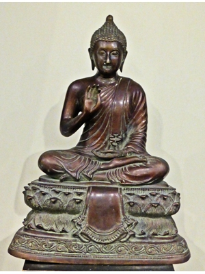 "A magnificent large rare and antique bronze of Buddha from Northern India, H 15.3"" x L 11.8"""