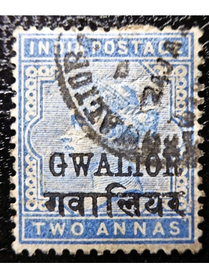 India, Overprint Gwalior, Queen Victoria, Two Pence, Blue 1883 used