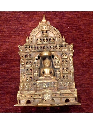 FINE BRONZE ALTER OF JAIN MAHAVIR WITH 38 DISCIPLES AND ANIMALS CA 19TH   Century or earlier