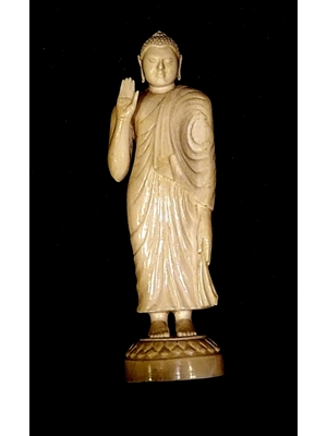 Standing Buddha statue from Sri Lanka 19th - 20th century hand carved of ivory. 19th 20th century