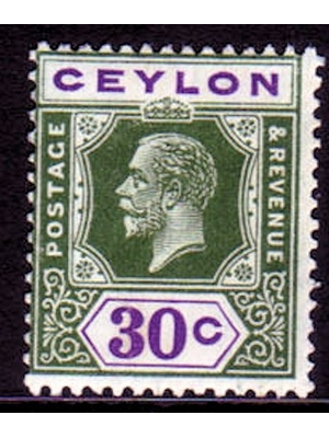 Ceylon, King George V, Postage stamp, 30 cents, 1919 mounted mint