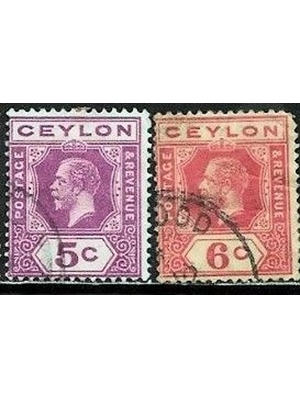 Ceylon, King George, set of 2 stamps, 5 & 6 Cents, 1919, used fine