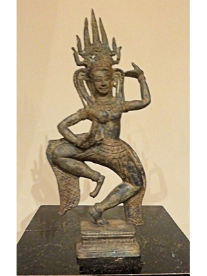 Apsara, the dancing celestial nymph, the hall mark of Angkor Vat culture, bronze, H 12.7, ca 1200-1700