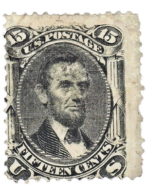 United States, Postage Stamp, Abraham Lincoln, 15-Cent, Black 1866 used