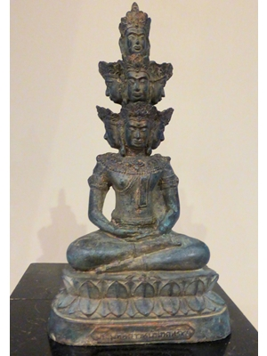 Large museum quality Khmer bronze of seated Vishnu with 9 crowned heads ca 19th  century or  earlier, H 11.7