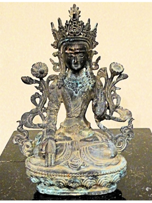 "White Tara, a form of Bodhisattva, Sino-Tibetan bronze, H 8.3"", ca 19th - early 20th century,"