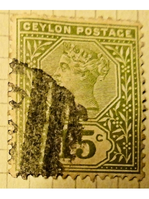 Ceylon Queen Victoria 15 cents Olive Green 1886 used hinged