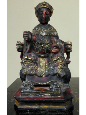 "Camphor Wood Hand Carved gilded and painted  MuGuiYing Chinese Statue 18th century or earlier 8"" tall 4.5"" width"