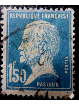 FRANCE, 1'50 F BLUE. HISTORY OF MEDICINE, LOUIS PASTEUR 1923 USED