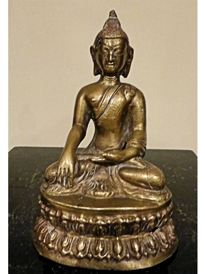 Thai gilded bronze depicting seated Shakyamuni Buddha with left hand in Bhumispura posture H 5.5""