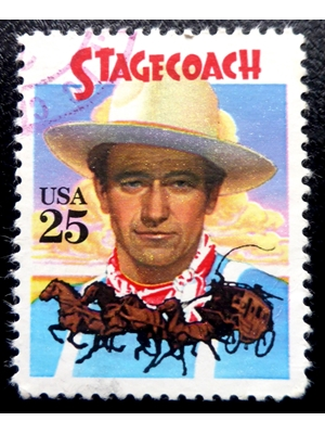UNITED STATES, HOLLYWOOD, MOVIES, MEMORABILIA, STAGECOACH, 25 ¢ US POSTAGE STAMP, 1989, MNH
