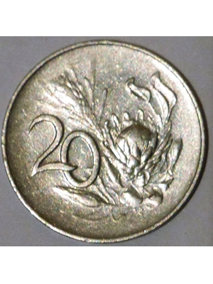 South Africa 20 cents nickel 1965 very fine