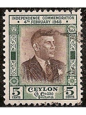 Ceylon D.S Senanayake 5 Cents First Prime Minster Independence 1948 scarce