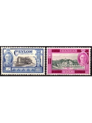 Ceylon, KG VI, New Constitution, 1947, Parliament 10C, 15C Temple of the Tooth, MINT set of 2