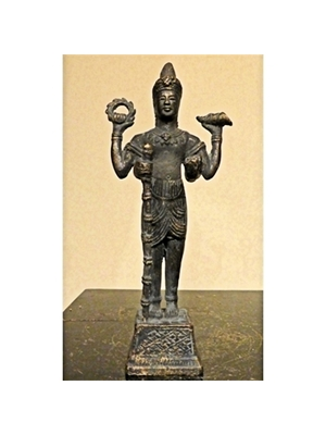 Khmer Vishnu bronze, shown as handsome young man in royal clothes and with four arm, ca post 18th to 19th century