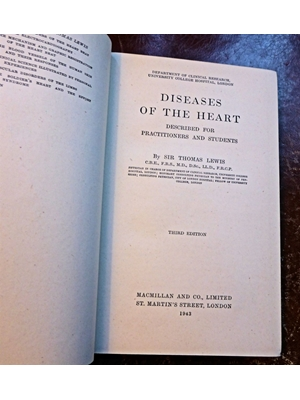 Diseases of the Heart, Thomas Lewis, Macmillan & Co. 1943, Third  Edition, Good Copy, no dust cover