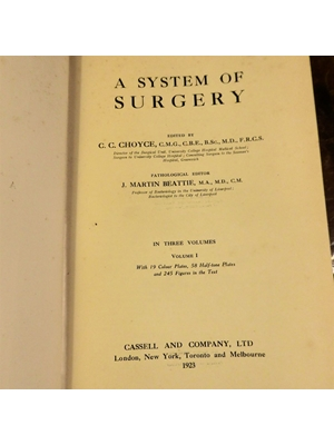 A System of Surgery, C. C. Choyce, Volume 1 only of 3, 19 color plates and illustrations, 1923 First Edition