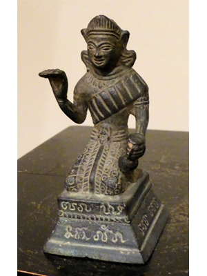 Unidentified deity with right hand in Naga posture, Khmer/Thai bronze with inscriptions, ca pre 1800, H 4.7