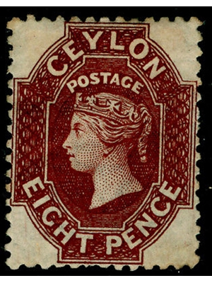 Ceylon, Queen Victoria, Eight Pence, chocolate brown, used 1859