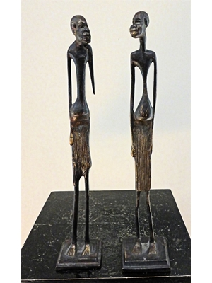 "Pair of graceful African bronzes of two tall tribal men  H 11.9"" and 11.8"",  ca early 20th century"