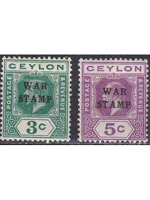Ceylon, King George V, set of 3 and 5 cents,  war stampS 1911 - 1925 mint