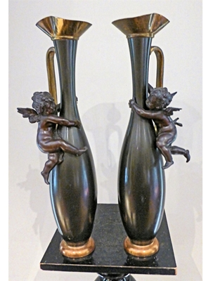 "Pair of Cherub  copper bronze vases,  H 13"" ca 19th - 20th century"