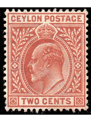 Ceylon, King Edward VII, Two Cents, red, 1903 red