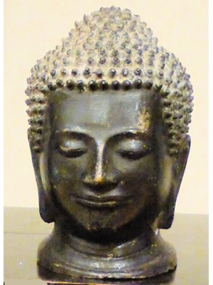 Bronze Thai/ Khmer Buddha head with gilt knotted hair  5.2  ca 19th - 20th century,