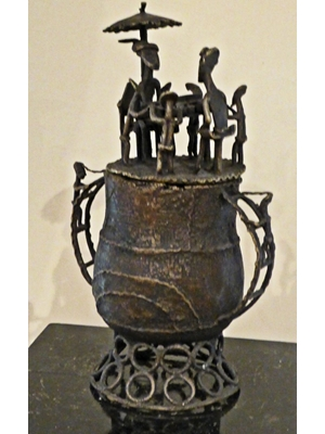Bronze cast by old Akan people of Ghana (Gold Coast). ritual vessel,  H 12 X 5.5, 19th  20th century