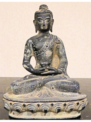 Seated Chinese Buddha, folk art bronze, 19th - early 20th century H 5""