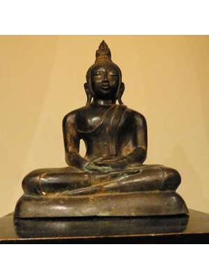 "Buddha, Characteristic Image of Theravada Buddhism, Sri Lanka,Buddh with Usinisa, curled hair, long ears and wearing monastic robes, 19th century Bronze H 12""  / 31 CM SOLD"