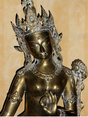 Green Tara, a large rare and antique Nepalese bronze studded with semiprecious stones, 33 tall,  19th - early 20th century
