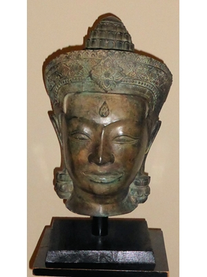 Large bronze Cambodian crowned  Ayodhya Buddha head H 15 stand 3.5,  ca 19th or early 20th century
