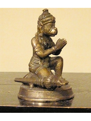 Hanuman, Monkey deity from the Ramayana legend, setaed in a praying posture with his mace 19th century