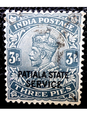 India, Patiala State - King George V, 1865-1936, 3 Pies, 1912, used postage stamp