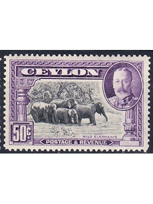 CEYLON, Postage,  King George V, 50 Cents, black and mauve wild life- elephant herd 1937 MINT