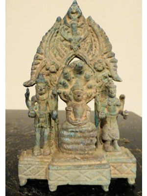 A fine Khmer Triad bronze, 3.95 X 2.5, 12th -14th century, Buddha flanked on either side by Vishnu and Uma.