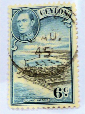 Ceylon George VI Colombo Harbour 6c Black and Blue 1945