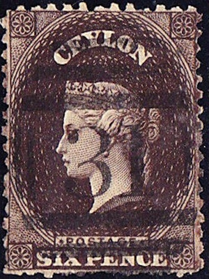 Ceylon, Queen Victoria, Six Pence, 1863, used VF