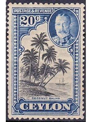 Ceylon King George V 20 cents, black and grey blue, Coconut Palm Trees 1935 MINT