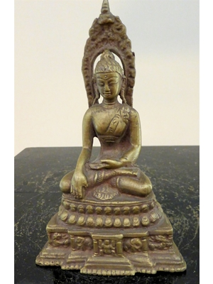 Thai gilt bronze Buddha in earth touching or Bhumispara  posture, H 5.2, ca 19th century,