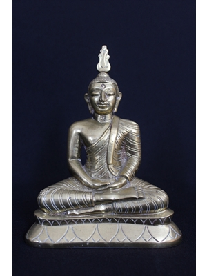 Seated Buddha in Samadi or Dhyana Mudra (meditation), curled hair, cranial protuberance bearing Sirispata, bronze statue, Sri Lanka, 20th century