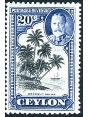 Ceylon King George V 20 c black and grey blue Coconut Palm Trees , Ocean and Ship, 1935 used very fine