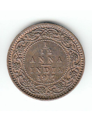 George V, King Emperor India, 1/12 Anna Copper coin 1917 VF