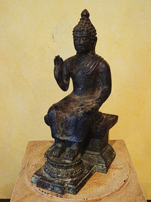 A rare large bronze of seated  Buddha with his feet on a lotus base  in Abhaya Mudra postion of right hand, A Sino-Tibetan, H 12, in ca 18th --19th century