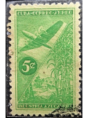 Cuba, Sugar Cane industry (1535-1935), Industria Azucarera, 5 c Green, air mail, Constellation aircraft, 1954 used