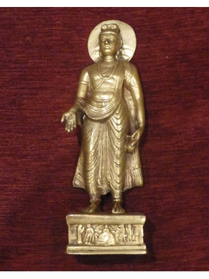 "Standing Buddha in Taxila and Gandhara tradition, very imposing, hand carved bronze/brass 12"" high, 19th -20th century"